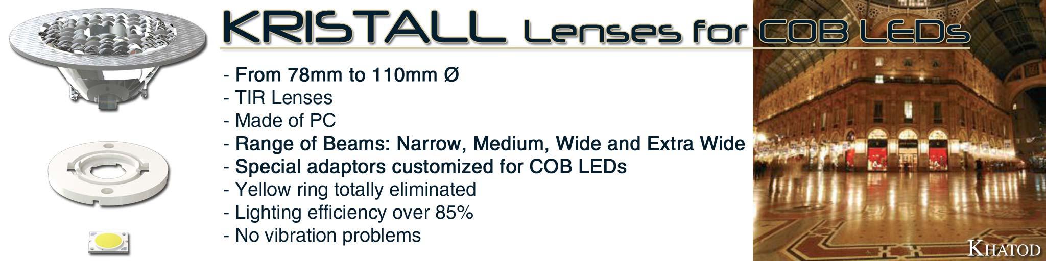 Kristall Lenses for COB LEDs