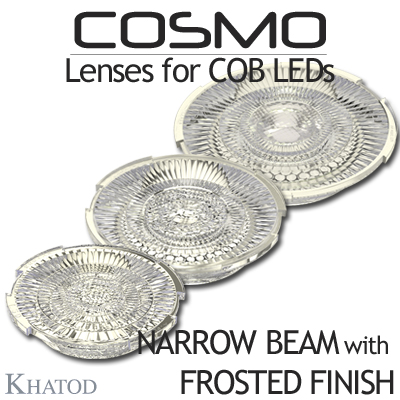 COSMO Lenses for COB LEDs - NARROW BEAM version available with FROSTED FINISH