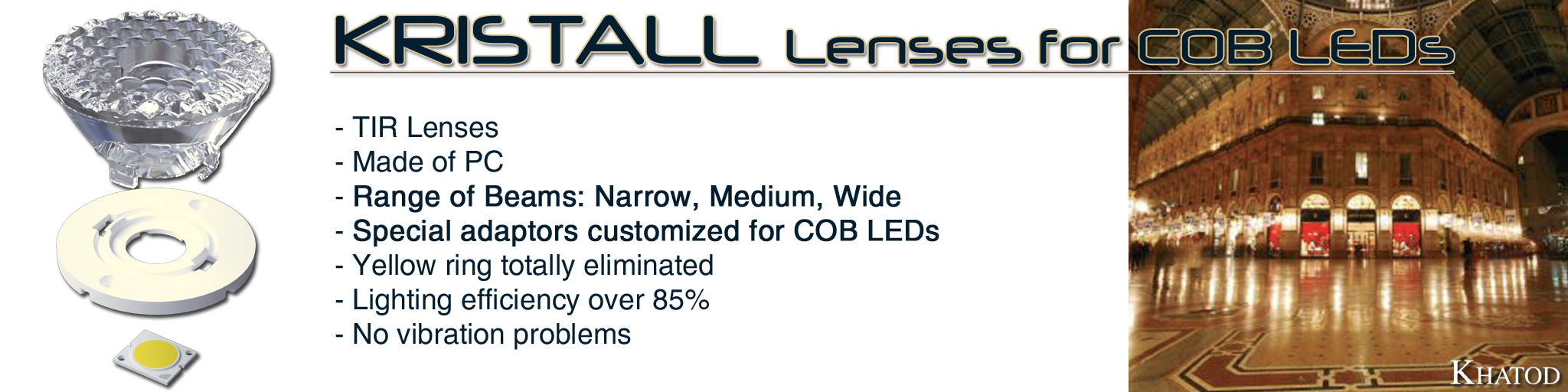 Kristall Lenses for COB LEDs