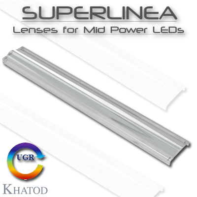 Sistemas Ópticos para LEDs de potencia media: SUPERLINEA - Lentes para LEDs de potencia media