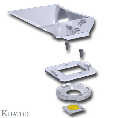 Asymmetric Reflectors for COB LEDs - 103,11 x 84,00mm side - 34,80mm height