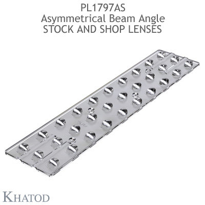 "Optical panels for Mid Power LEDs - 280.00mm x 62.30mm side, 9.55mm height - 17°x 108° FWHM - ""STOCK and SHOP Lenses"""