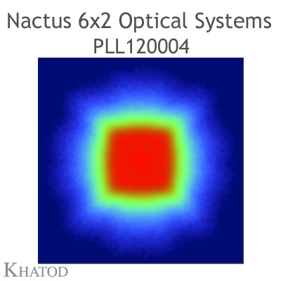 Nactus 6x2 Optical System with 12 Lenses - Module dimensions: 173,00mm x 71,40mm side - Lens pitch: 25,40 mm - 130° FWHM Square