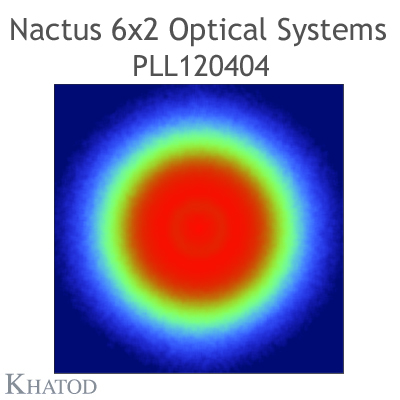 Nactus 6x2 Optical System with 12 Lenses - Module dimensions: 173,00mm x 71,40mm side - Lens pitch: 25,40 mm - Type V - 120° FWHM