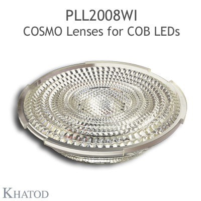 Low Profile Lenses for COB LEDs - 89.87mm diameter, 18.07mm height - 45° FWHM Wide Beam