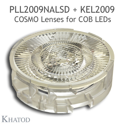 Low Profile Lenses for COB LEDs - 69.86mm diameter, 14.43mm height - 16° FWHM Narrow Beam