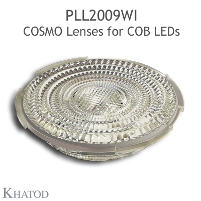 Low Profile Lenses for COB LEDs - 69.86mm diameter, 14.43mm height - 35° FWHM Wide Beam