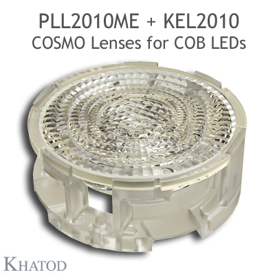 Low Profile Lenses for COB LEDs - 49.98mm diameter, 10.34mm height - 25° FWHM Medium Beam