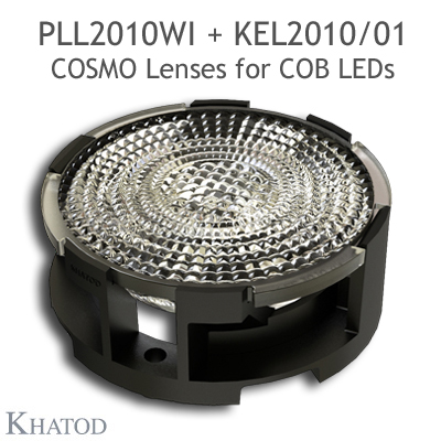 Low Profile Lenses for COB LEDs - 49.98mm diameter, 10.33mm height - 38° FWHM Wide Beam