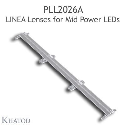 Lenses for Mid Power LEDs - Module dimensions: 285.91mm x 45.00mm side, 8.00mm height - 30° FWHM Medium Beam