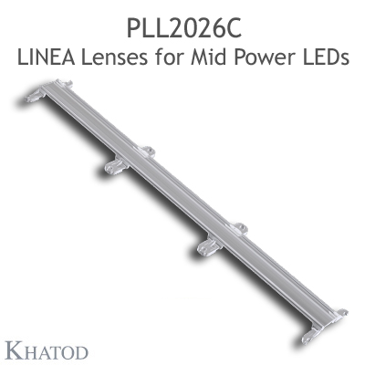 Lenses for Mid Power LEDs - Module dimensions: 285.90mm x 45.00mm side, 8.03mm height - 90° FWHM Ultra Wide Beam