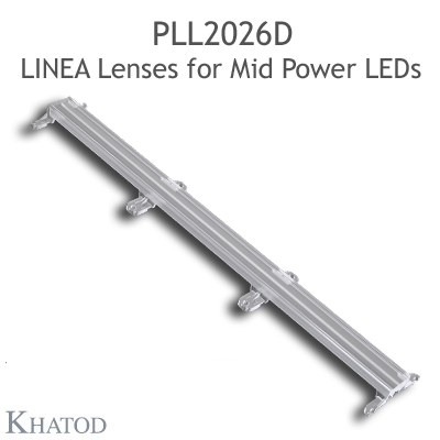 Lenses for Mid Power LEDs - Module dimensions: 285.90mm x 45.00mm side, 12.81mm height - Asymmetrical Beam