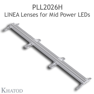 Lenses for Mid Power LEDs - Module dimensions: 285.90mm x 61.00mm side, 12.81mm height - Asymmetrical Beam