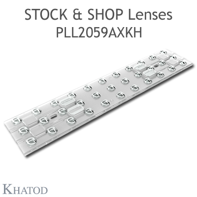 "Optical panels for Mid Power LEDs - 286mm x 60mm side, 7.80mm height - 90° FWHM Double Asymmetric - ""STOCK and SHOP Lenses"""