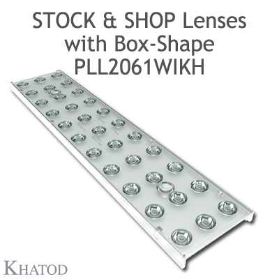 "Optical panels for Mid Power LEDs - 286mm x 60mm side, 12.07mm height - 30° FWHM - ""STOCK and SHOP Lenses"""