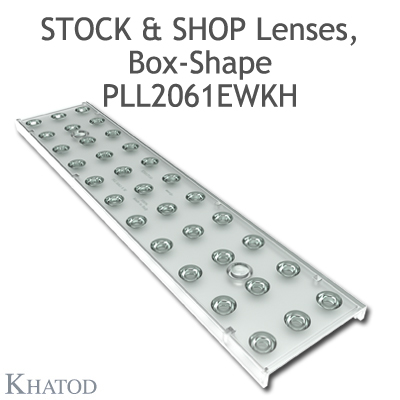 "Optical panels for Mid Power LEDs - 285.60mm x 61mm side, 10.10mm height - 60° FWHM - ""STOCK and SHOP Lenses"""