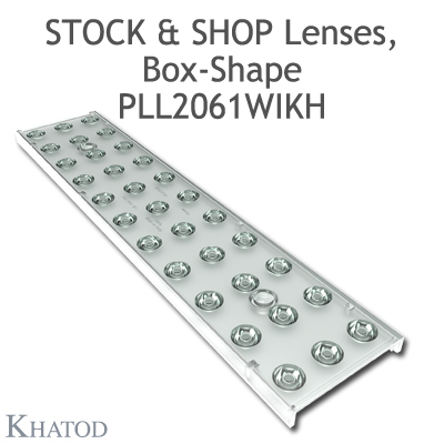 "Optical panels for Mid Power LEDs - 285.60mm x 61mm side, 10.10mm height - 30° FWHM - ""STOCK and SHOP Lenses"""