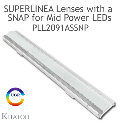 Lenses for Mid Power LEDs - Module dimensions: 283.45mm x 39.90mm side, 12.51mm height - Asymmetrical Beam