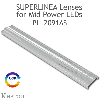 Lenses for Mid Power LEDs - Module dimensions: 283.45mm x 39.90mm side, 8.20mm height - Asymmetrical Beam