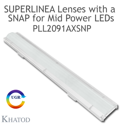 Lenses for Mid Power LEDs - Module dimensions: 283.45mm x 39.90mm side, 13.42mm height - Asymmetrical Beam