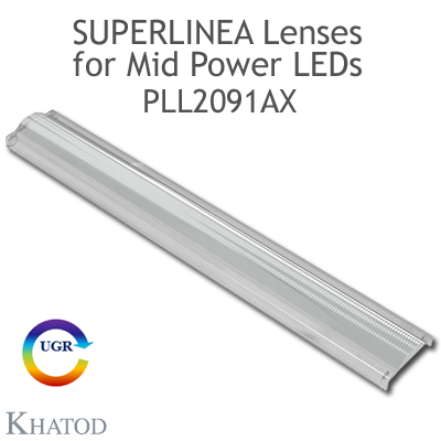 Lenses for Mid Power LEDs - Module dimensions: 283.65mm x 39.90mm side, 8.00mm height - Asymmetrical Beam