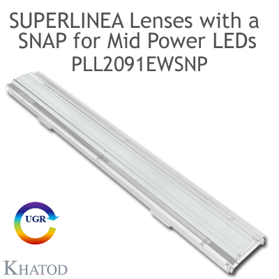 Lenses for Mid Power LEDs - Module dimensions: 283.45mm x 39.90mm side, 11.35mm height - 60° FWHM Extra Wide Beam