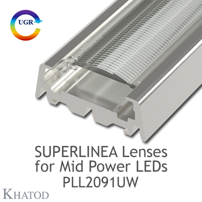 Lenses for Mid Power LEDs - Module dimensions: 283.65mm x 39.90mm side, 10.29mm height - 90° FWHM Ultra Wide Beam