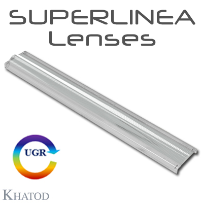 SUPERLINEA Lenses for Mid Power LEDs - 283.45mm x 39.90mm side - from 8.00mm to 12,80mm height
