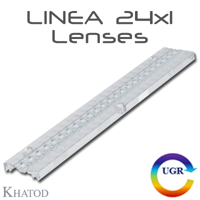 LINEA 24x1 Lenses for Mid Power LEDs - 278.30mm x 43.00mm side - from 9.94mm to 10.10mm height