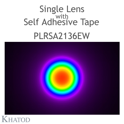 Single Lens for Power LEDs with Self Adhesive Tape - 21.50mm diameter - 9.51mm height - 60° FWHM
