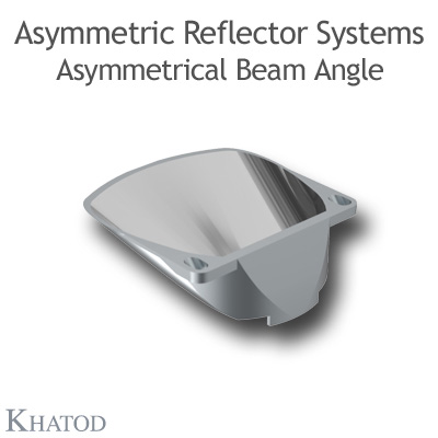 Asymmetric Reflectors for COB LEDs - 60,00mm x 57,26mm side - 20,00mm height - Asymmetric Beam