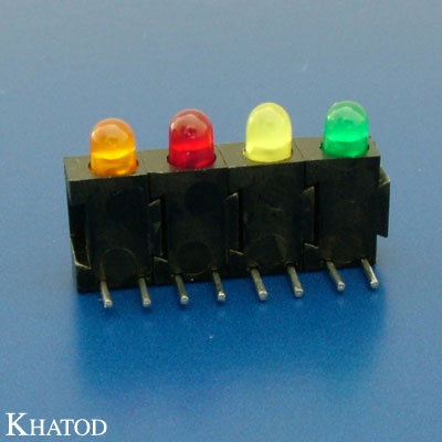 LED Device Circuit Board Indicators 3mm diameter LED, Right Angle Assembly, Row Assembly, 4 positions
