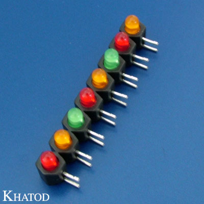LED Device Circuit Board Indicators 3mm diameter LED, Right Angle Assembly, Row Assembly, 8 positions