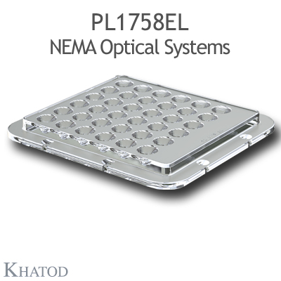 NEMA Optical Systems for Power LEDs; Module dimensions: 110mm x 120mm side, 9,51mm height - 15°x 40° FWHM