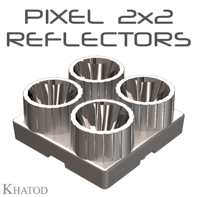 PIXEL 2x2 Reflectors for 3535 package LEDs - 49,93mm x 49,93mm side - from 6,50mm to 21,00mm height