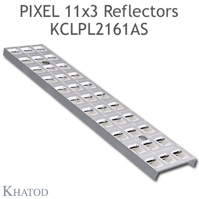 "Reflector panels for Mid Power LEDs - 285.60mm x 61mm side, 10.25mm height - 30° FWHM @ Max Candela 30° Asymmetric Beam - ""PIXEL 11x3 Reflectors"""