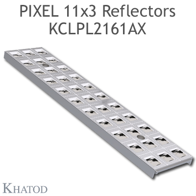 "Reflector panels for Mid Power LEDs - 285.60mm x 61mm side, 10.25mm height - ±30° FWHM @ Max Candela ±30° Double Asymmetric Beam - ""PIXEL 11x3 Reflectors"""