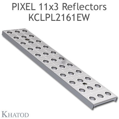 "Reflector panels for Mid Power LEDs - 285.60mm x 61mm side, 10.25mm height - 90° FWHM Ultra Wide Beam - ""PIXEL 11x3 Reflectors"""