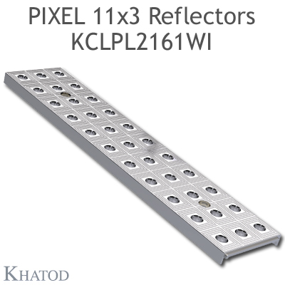 "Reflector panels for Mid Power LEDs - 285.60mm x 61mm side, 10.25mm height - 60° FWHM Extra Wide Beam - ""PIXEL 11x3 Reflectors"""