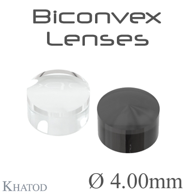 Biconvex Lenses - 4.00mm diameter - 2.50mm height - Material: PC, PC IR, PMMA, PMMA UV