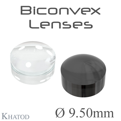 Biconvex Lenses - 9.50mm diameter - 6.00mm height - Material: PC, PC IR, PMMA, PMMA UV