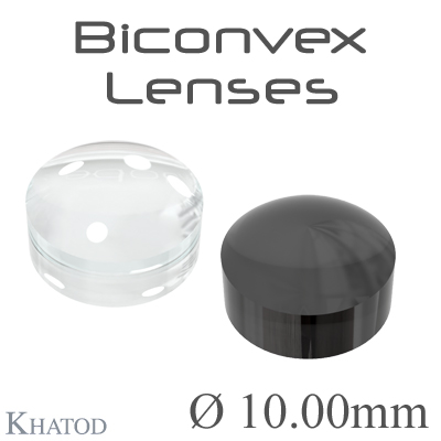 Biconvex Lenses - 10.00mm diameter - 6.03mm height - Material: PC, PC IR, PMMA, PMMA UV