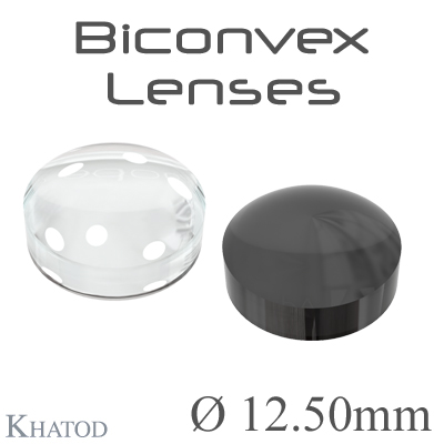 Biconvex Lenses - 12.50mm diameter - 6.01mm height - Material: PC, PC IR, PMMA, PMMA UV