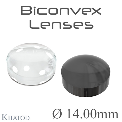 Biconvex Lenses - 14.00mm diameter - 6.05mm height - Material: PC, PC IR, PMMA, PMMA UV