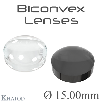Biconvex Lenses - 15.00mm diameter - 7.05mm height - Material: PC, PC IR, PMMA, PMMA UV