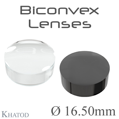 Biconvex Lenses - 16.50mm diameter - 6.99mm height - Material: PC, PC IR, PMMA, PMMA UV