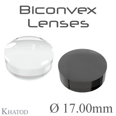 Biconvex Lenses - 17.00mm diameter - 7.00mm height - Material: PC, PC IR, PMMA, PMMA UV
