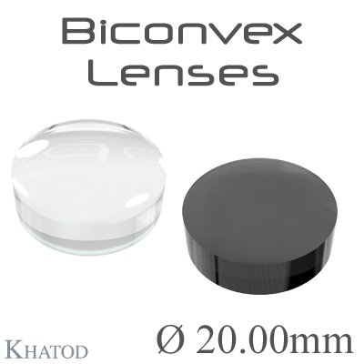 Biconvex Lenses - 20.00mm diameter - 6.99mm height - Material: PC, PC IR, PMMA, PMMA UV