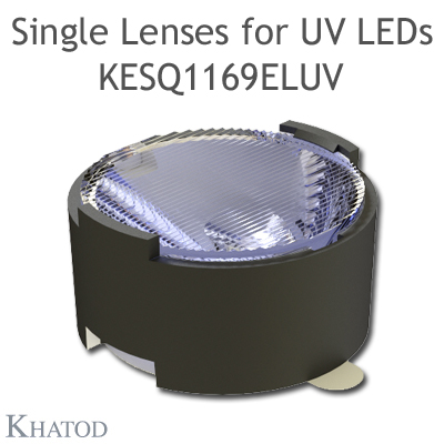 Single Lenses with Self-Adhesive Tape for UV LEDs with Black Holder - Elliptical Beam