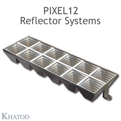 Pixel Reflector Systems with pegs for Power LEDs - 55.90mm x 167.64mm side - 21.73mm height - 60° FWHM Ultra Wide Beam
